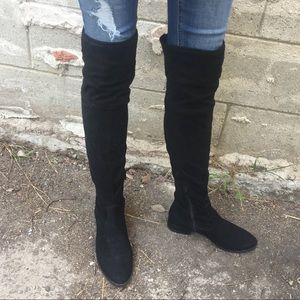 Ivanka Trump ThighHigh Faux MicroSuede Black Boots